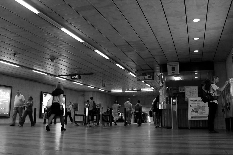 Auf dem Weg zur U-Bahn